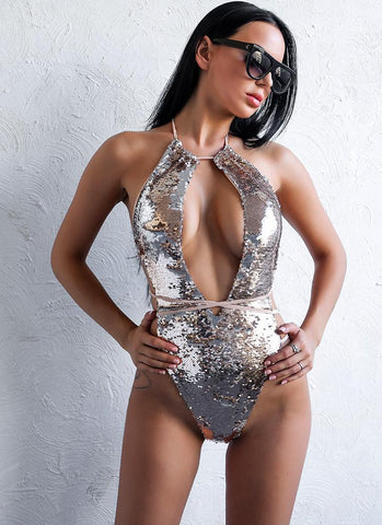 Aly 24K Chic  Monokini- Silver - Posh Fashion Girls