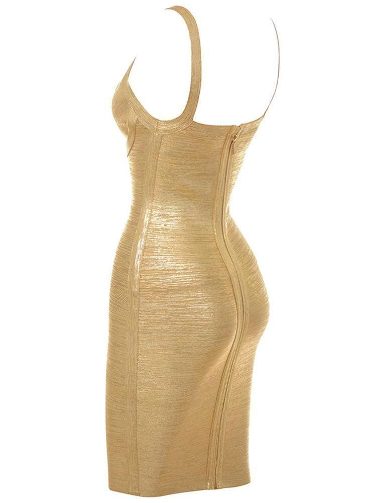 Ahoo Gold Cross Bandage Dress- Gold Dresses Sexy LuLu Store