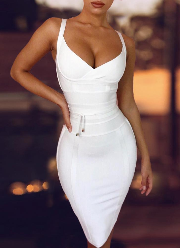 Lisa Bodycon Bandage Dress- White Dresses ADYCE Official Store S