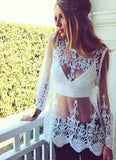 Ashlee Lace Top - White Blouses & Shirts XiXi Fast Store white S