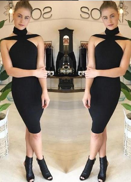 Sera Halter Bodycon Dress- Black 1688