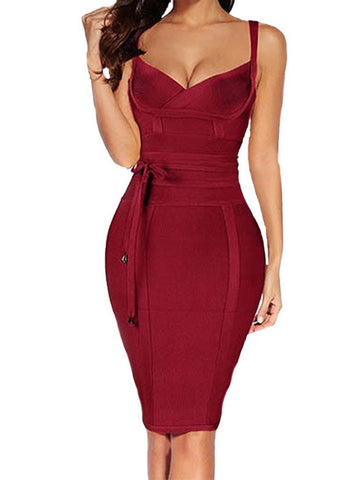 Lisa Bodycon Bandage Dress- Red Wine Dresses ADYCE Official Store