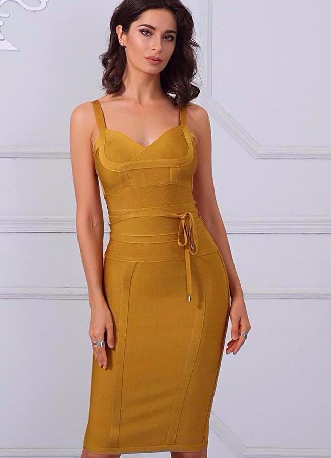 Lisa Bodycon Bandage Dress-Gold Dresses ADYCE Official Store