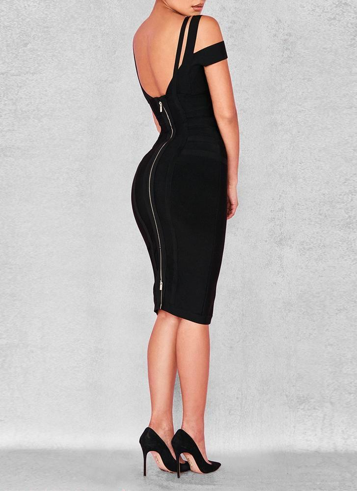 Chanel Off Shoulder Bandage Dress- Black Dresses Sexy LuLu Store