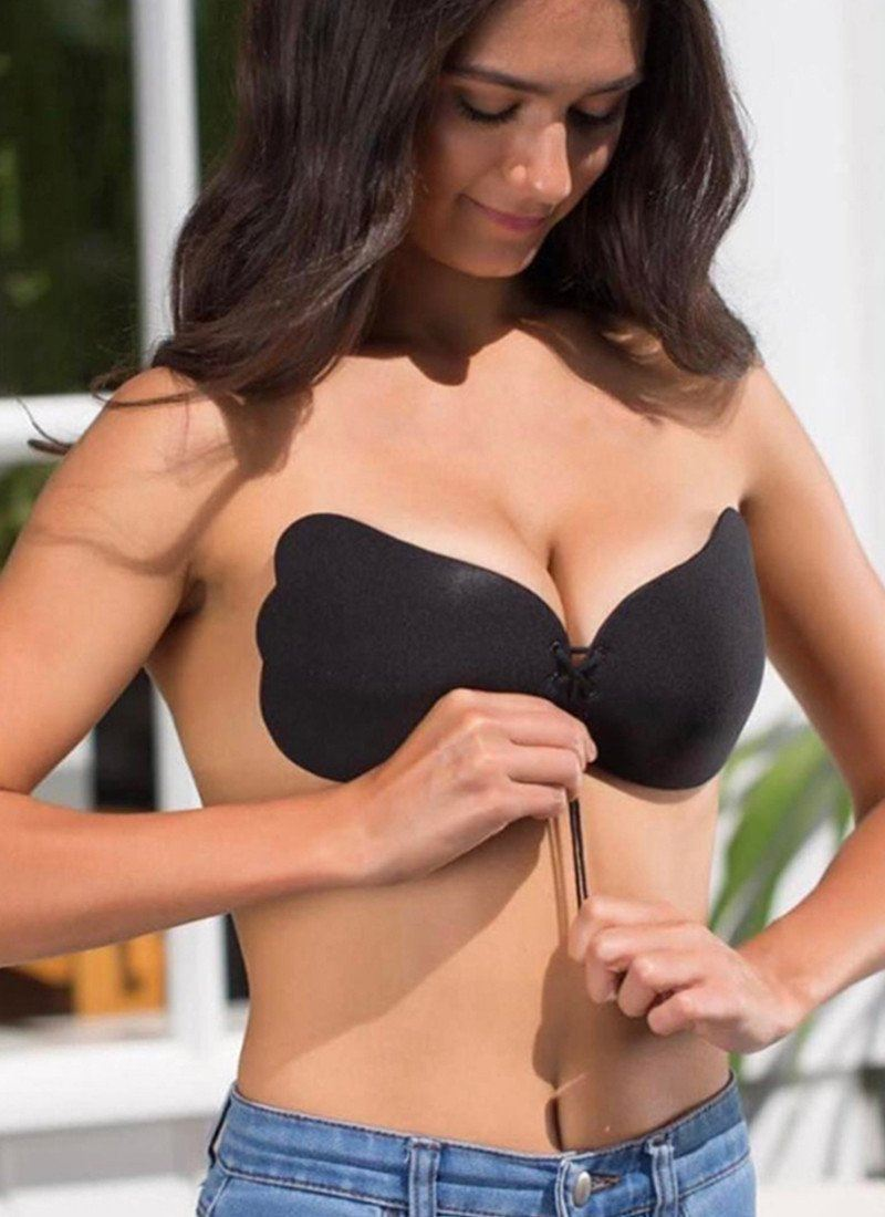 Gina Push Up Silicone Bra-Black Posh Fashion Shop A