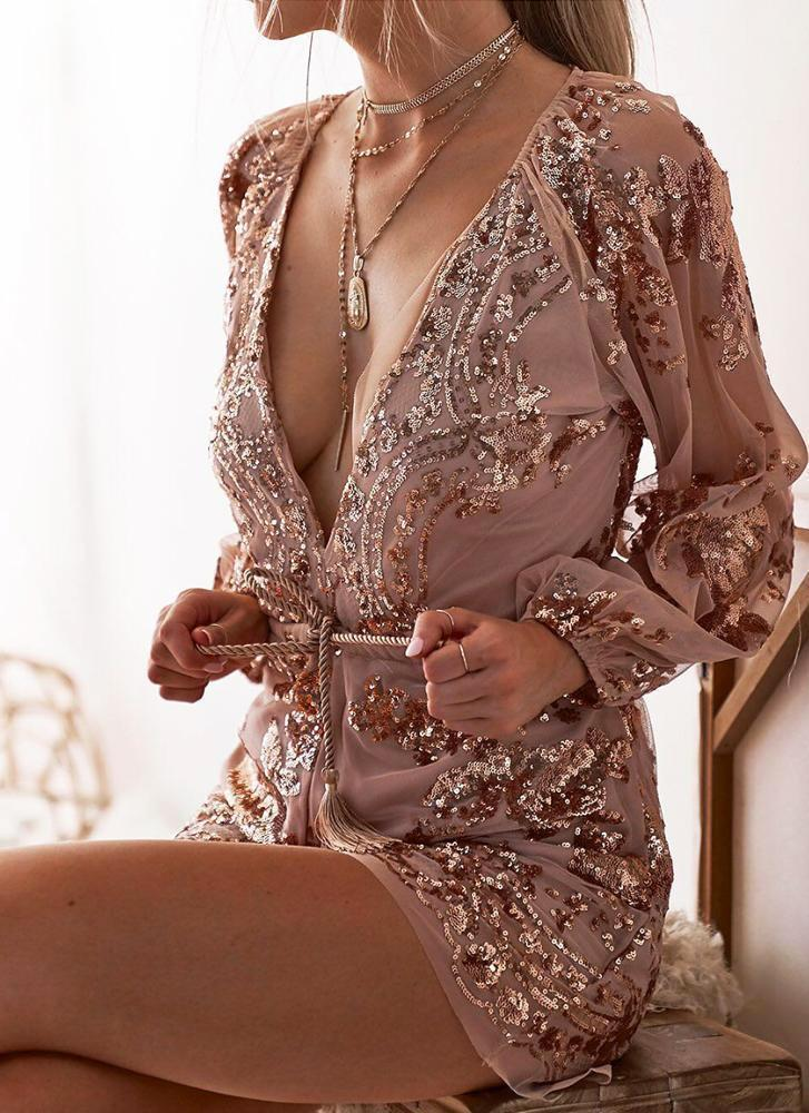 Holly Chic Playsuit -Gold Rompers Mezone beige XS