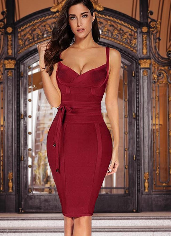 Lisa Bodycon Bandage Dress- Red Wine Dresses ADYCE Official Store S