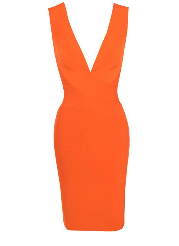 Alexis Cross Front Bandage Dress- Orange Dresses Sexy LuLu Store
