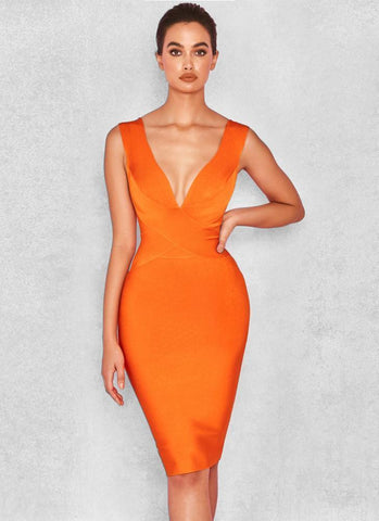 Alexis Cross Front  Bandage Dress- Orange - Posh Fashion Girls