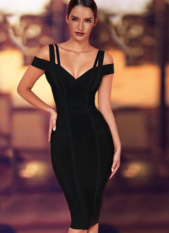 Chanel Off Shoulder Bandage Dress- Black Dresses Sexy LuLu Store S Black