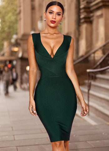Alexis Cross Front Bandage Dress- Emerald Green Dresses Sexy LuLu Store XS