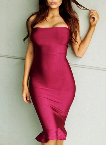 My Diva Bandage Dress-Burgundy Posh Fashion Girls