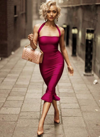 My Diva Bandage Dress-Burgundy Posh Fashion Girls Burgundy XS