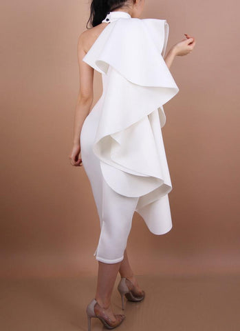 Elina Ruffled Dress- White Dresses Posh Fashion Girls