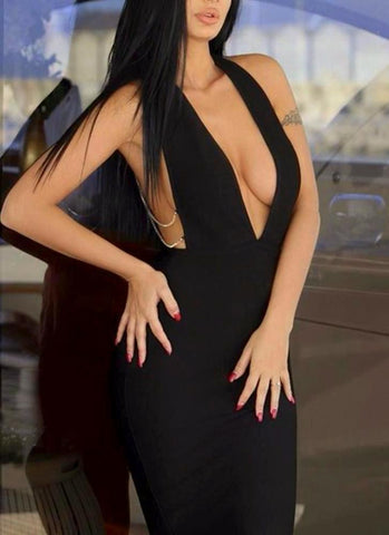 Sandra Chain Bandage Dress-Black Posh Fashion Girls