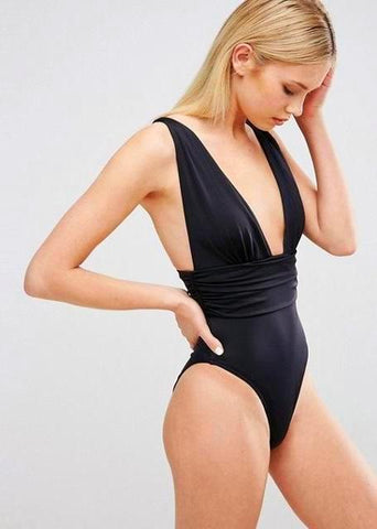 Melani High Cut Waist Swimsuit- Black Body Suits MANYIER Official Store