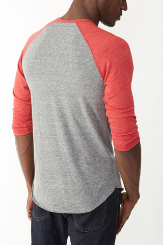 Alternative Apparel 3/4 Raglan Henley in Grey/True Red