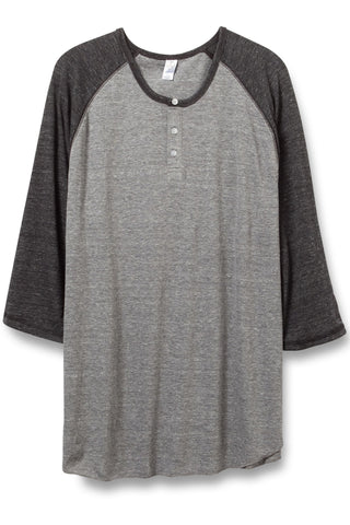 Alternative Apparel 3/4 Raglan Henley in Grey/Black