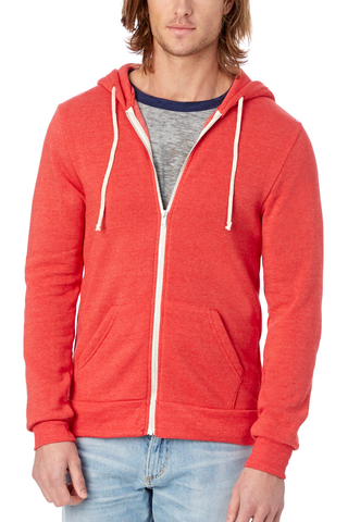 Alternative Eco Fleece Zip Hoodie in True Red