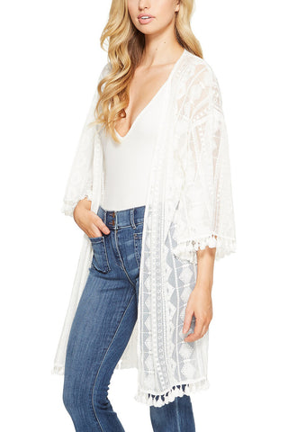Jack by BB Dakota Viola Lace Kimono in White