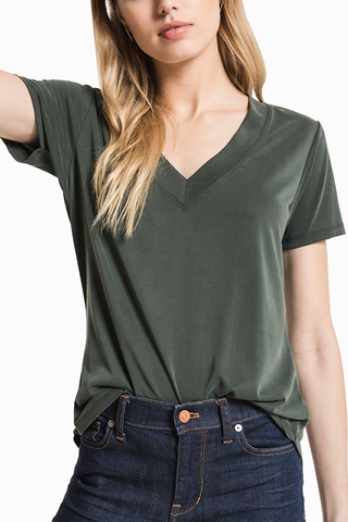 Z Supply Deep V Tee in Forest