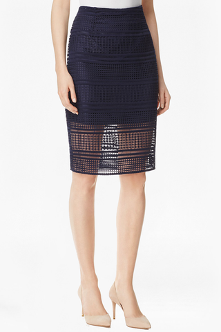 Cupcakes and Cashmere Viva La Villa Skirt in Navy