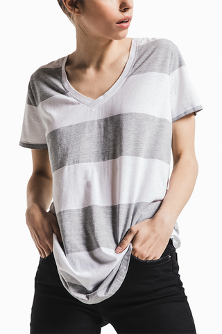 Z Supply Brynna Stripe Tee in White/Grey