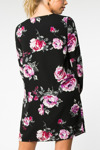 Kathryn Floral Dress in Black