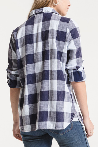 White Crow Paige Plaid Shirt in Navy