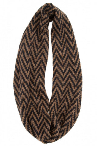Zig Zag Eternity Scarf in Bark/Black