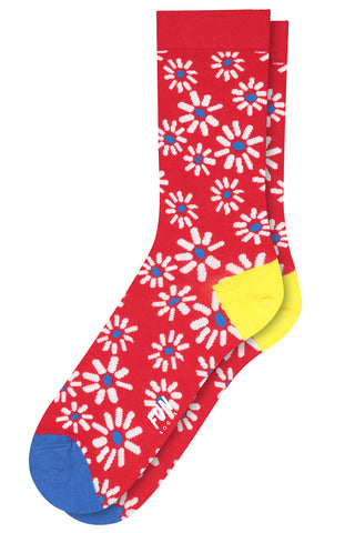 Women's Flower Power Socks in Red