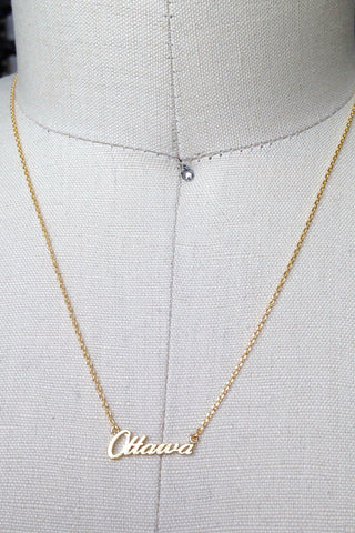 Ottawa Script Necklace in Gold or Silver