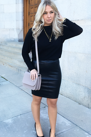 Cupcakes and Cashmere C'est Chic Skirt in Raven