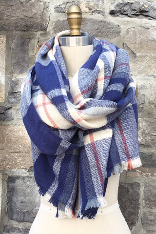Half Moon Blanket Scarf in Indigo
