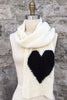 Heart Scarf in Bone/Black