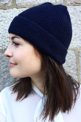 Montreal Fine Rib Beanie in Storm Blue