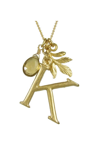 "18K Gold Initial Necklace - ""K"""