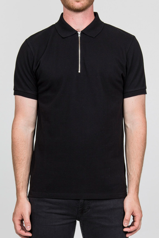 RVLT Zip Polo in Black