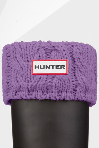 Hunter Cable Knit Boot Socks in Dusty Lavender