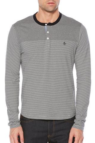 Original Penguin Jackson Henley in Black/White