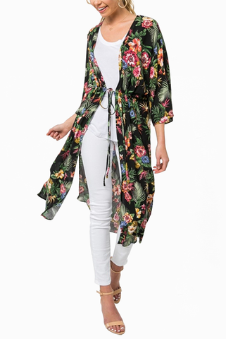 Tropical Flower Wrap in Black