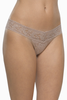 Hanky Panky Stretch Lace Low-Rise Thong in Taupe