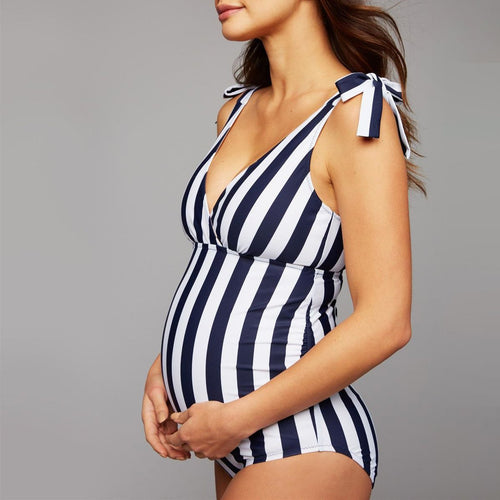 Maternity Stripes Swimwear One Piece