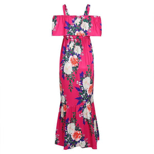 Magenta Floral Ruffle Open Shoulder Maternity Maxi Dress