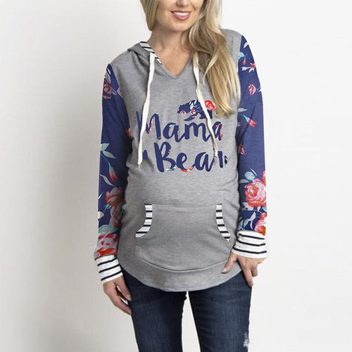 Mama Bear Print Floral Pattern Splicing Maternity Hoodie Sweater