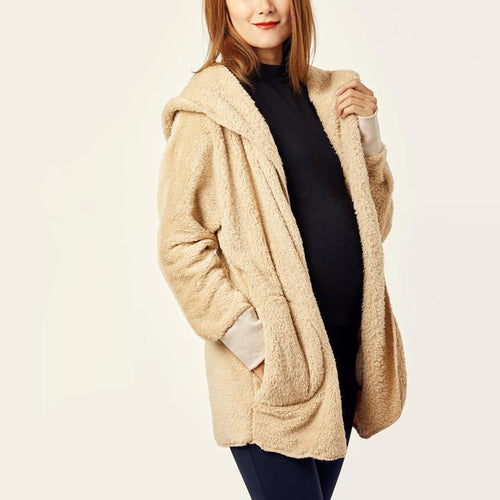 Maternity Long-Sleeved Cardigan Pocket Warm Jacket