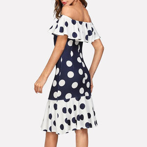 Maternity Off Shoulder Color Block Polka Dot Printing Dress