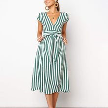 Load image into Gallery viewer, Maternity Deep V-Neck Stripe Casual Long Dress