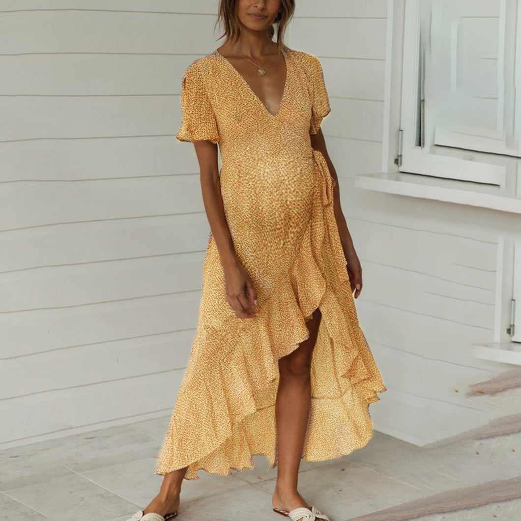 Maternity V-Neck Printed Lace-Up Dress