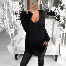 Load image into Gallery viewer, Maternity Casual Deep V-Neck Long Sleeve Plain Loose T-Shirt